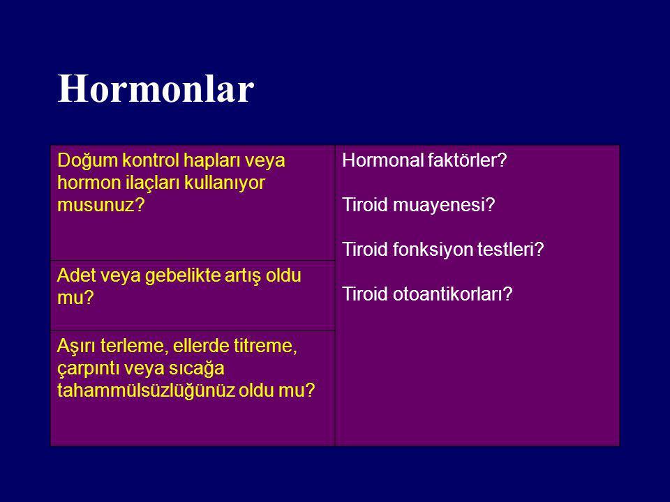 Hormonlar Doğum kontrol hapları veya hormon ilaçları kullanıyor musunuz Hormonal faktörler Tiroid muayenesi