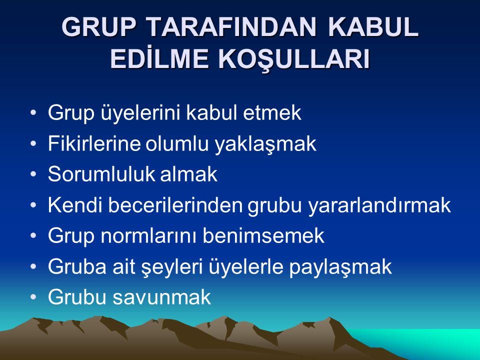 GRUP TARAFINDAN KABUL EDİLME KOŞULLARI