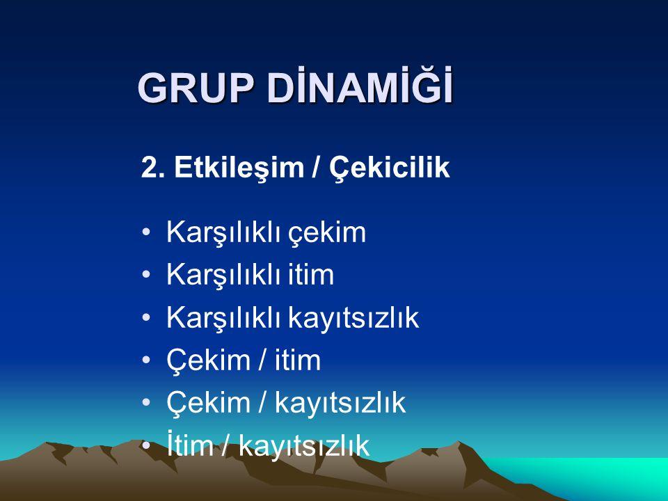 GRUP DİNAMİĞİ 2. Etkileşim / Çekicilik Karşılıklı çekim