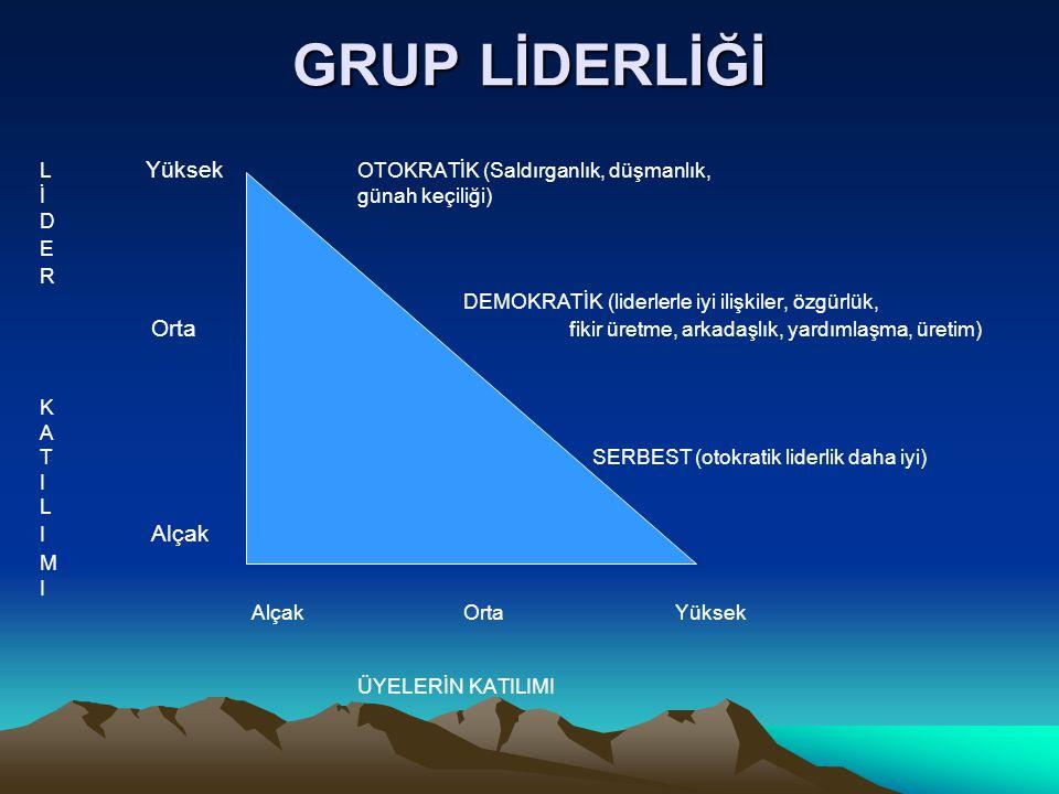 GRUP LİDERLİĞİ L Yüksek OTOKRATİK (Saldırganlık, düşmanlık,