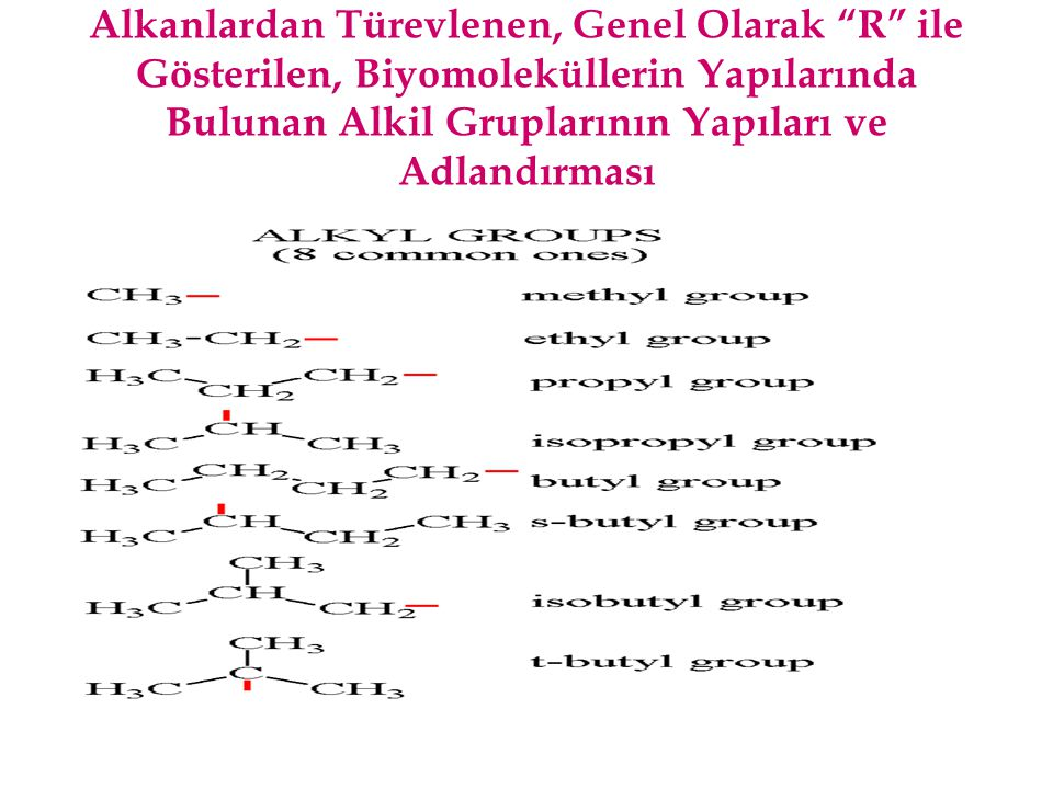Alkanlardan Türevlenen, Genel Olarak R ile Gösterilen, Biyomoleküllerin Yapılarında Bulunan Alkil Gruplarının Yapıları ve Adlandırması