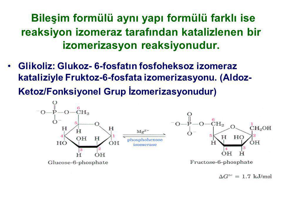 Bileşim formülü aynı yapı formülü farklı ise reaksiyon izomeraz tarafından katalizlenen bir izomerizasyon reaksiyonudur.