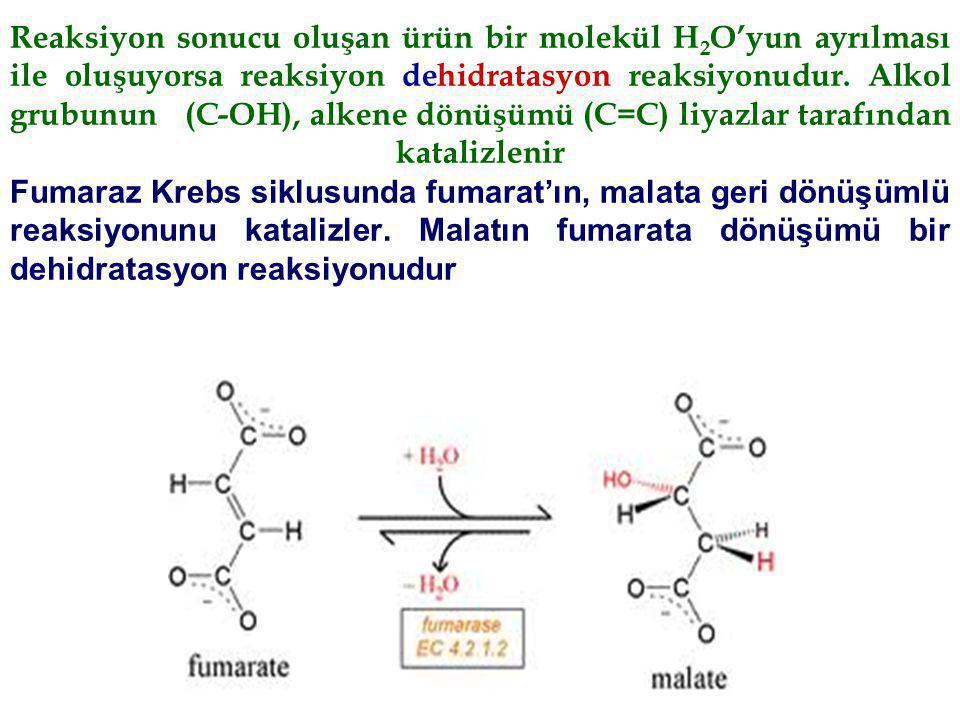 Reaksiyon sonucu oluşan ürün bir molekül H2O'yun ayrılması ile oluşuyorsa reaksiyon dehidratasyon reaksiyonudur.