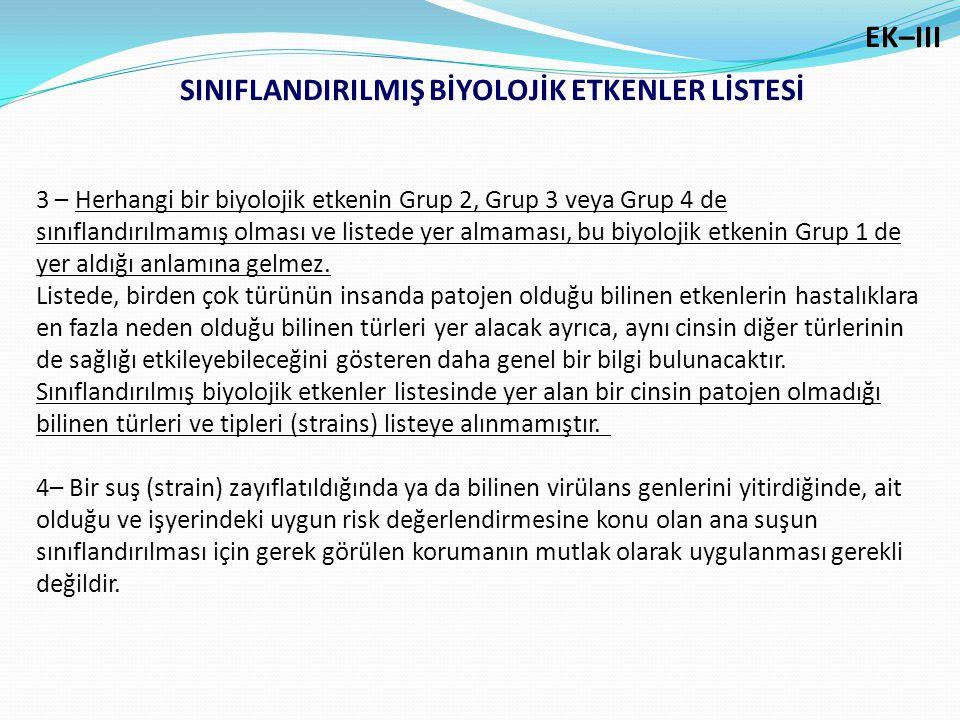 SINIFLANDIRILMIŞ BİYOLOJİK ETKENLER LİSTESİ