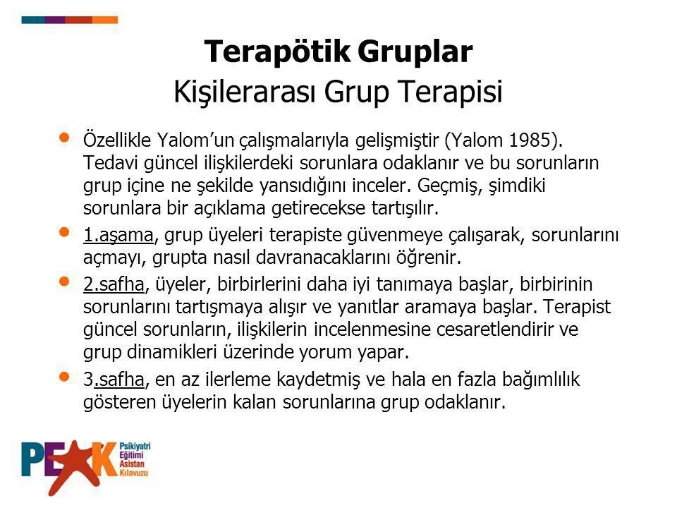 Terapötik Gruplar Kişilerarası Grup Terapisi
