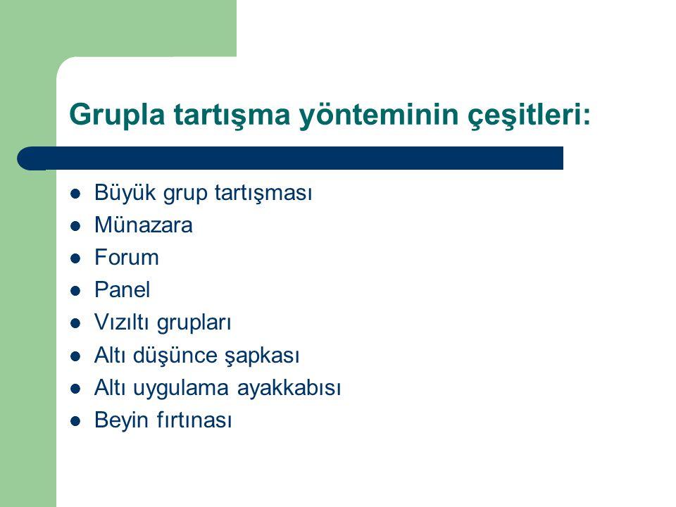 Grupla tartışma yönteminin çeşitleri: