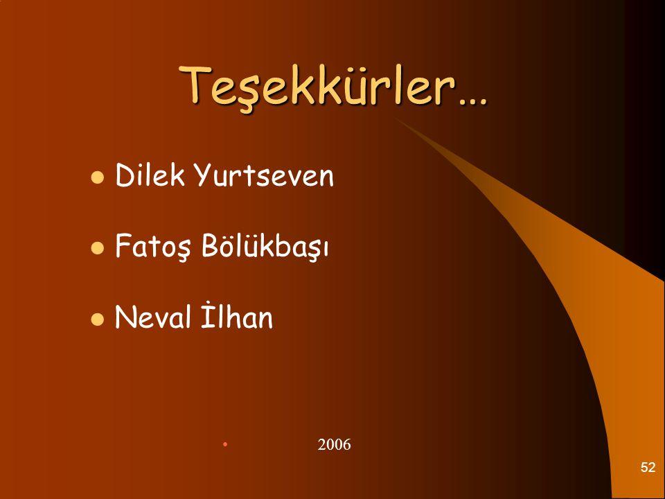 Teşekkürler… Dilek Yurtseven Fatoş Bölükbaşı Neval İlhan 2006