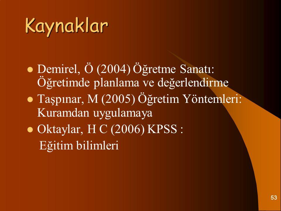 Kaynaklar Demirel, Ö (2004) Öğretme Sanatı: Öğretimde planlama ve değerlendirme. Taşpınar, M (2005) Öğretim Yöntemleri: Kuramdan uygulamaya.