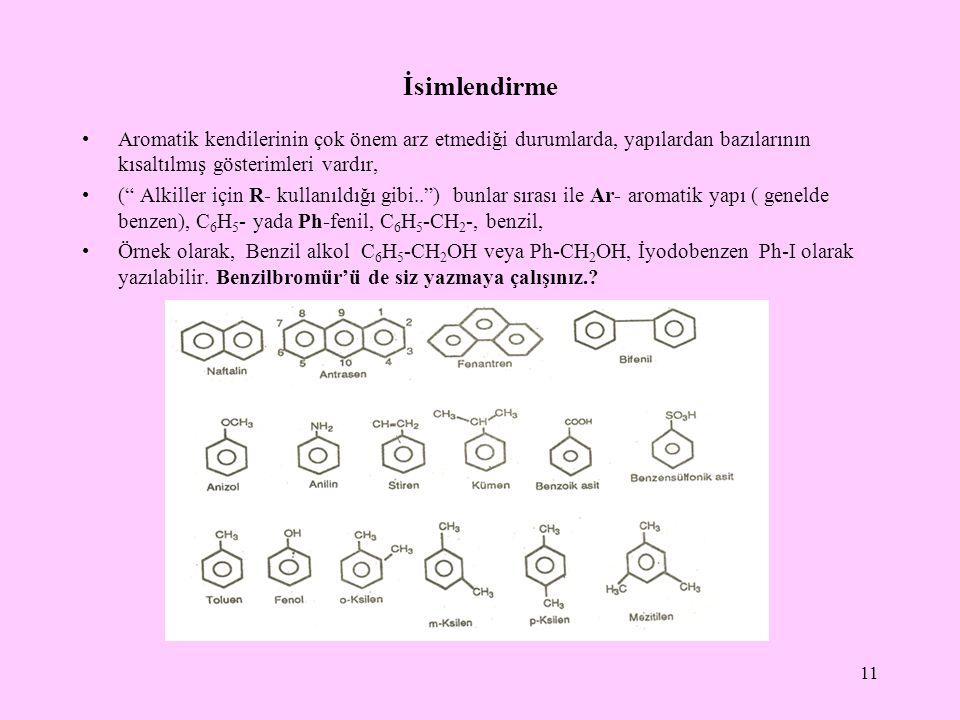 İsimlendirme Aromatik kendilerinin çok önem arz etmediği durumlarda, yapılardan bazılarının kısaltılmış gösterimleri vardır,