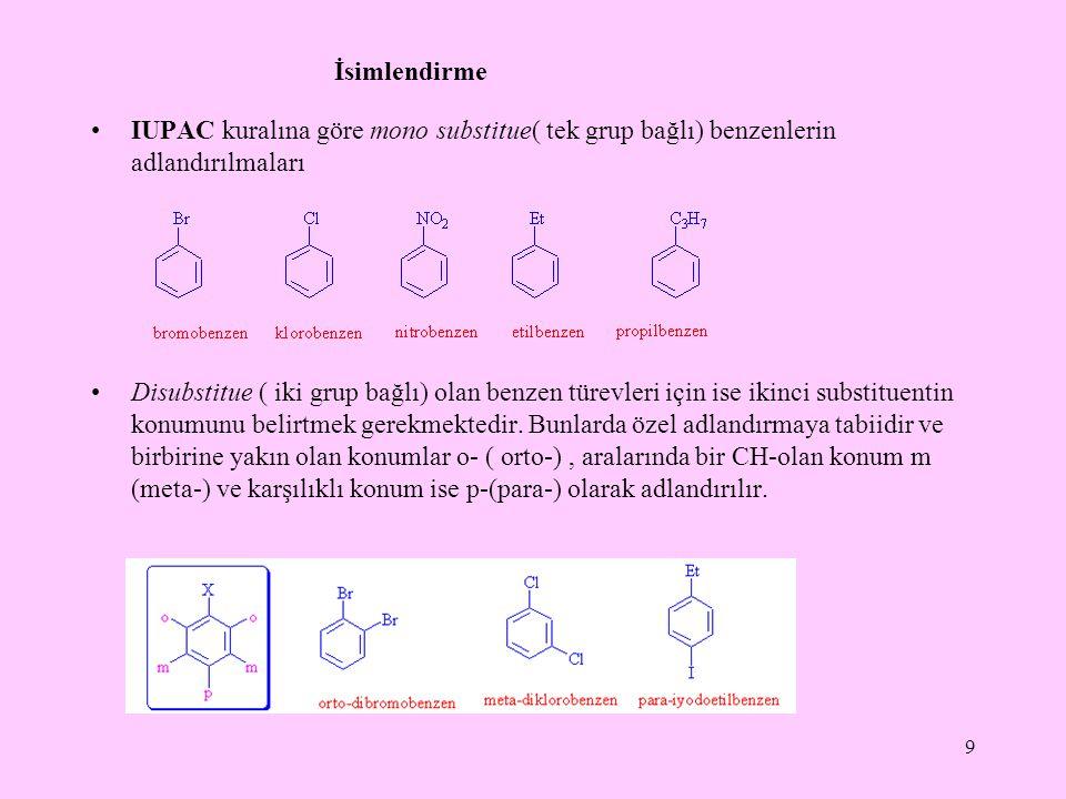 İsimlendirme IUPAC kuralına göre mono substitue( tek grup bağlı) benzenlerin adlandırılmaları.