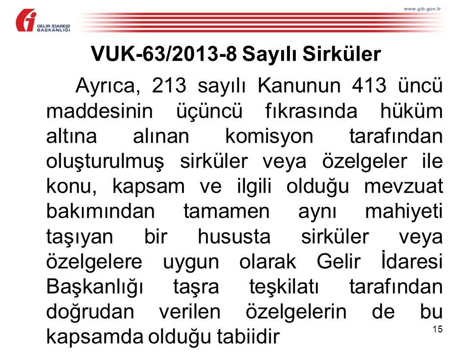 VUK-63/2013-8 Sayılı Sirküler