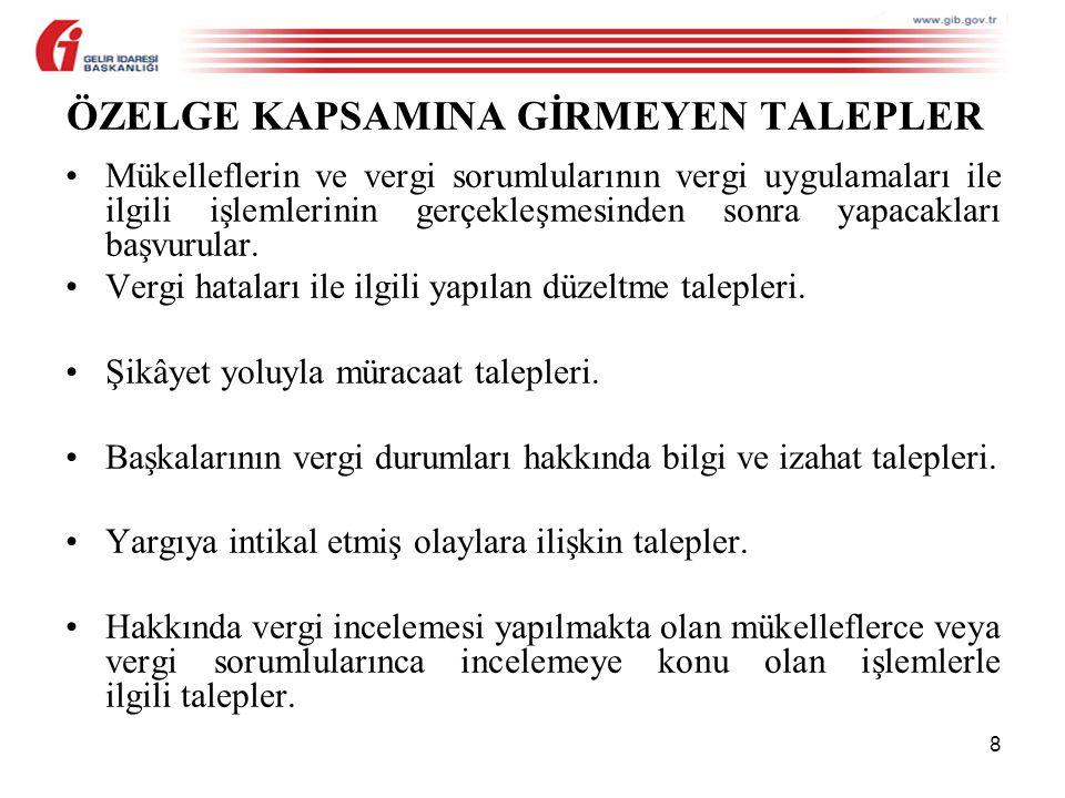 ÖZELGE KAPSAMINA GİRMEYEN TALEPLER