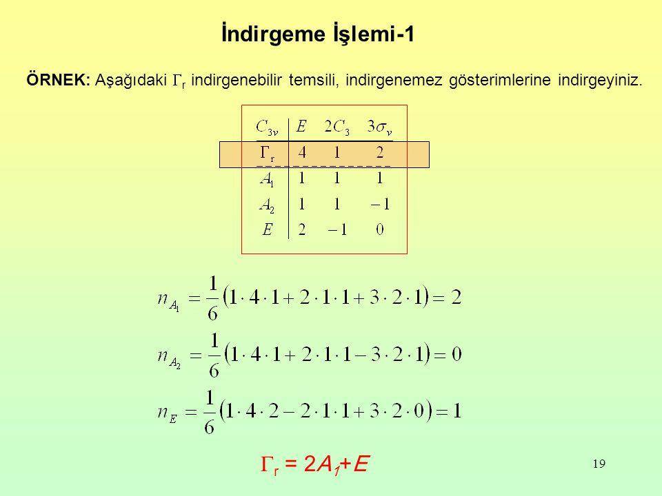 İndirgeme İşlemi-1 Gr = 2A1+E