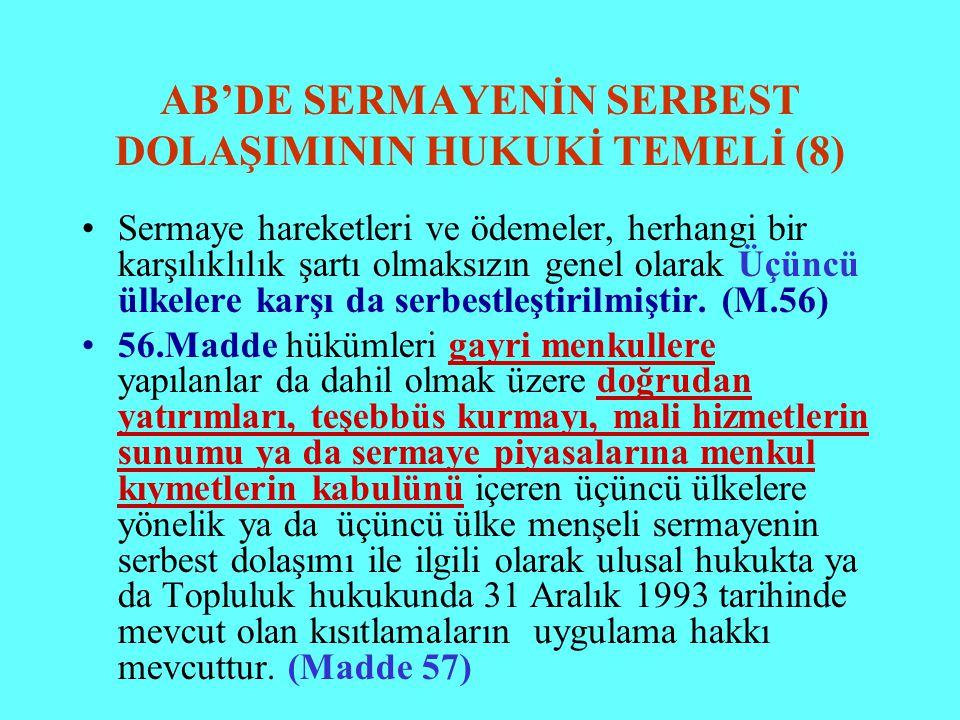 AB'DE SERMAYENİN SERBEST DOLAŞIMININ HUKUKİ TEMELİ (8)