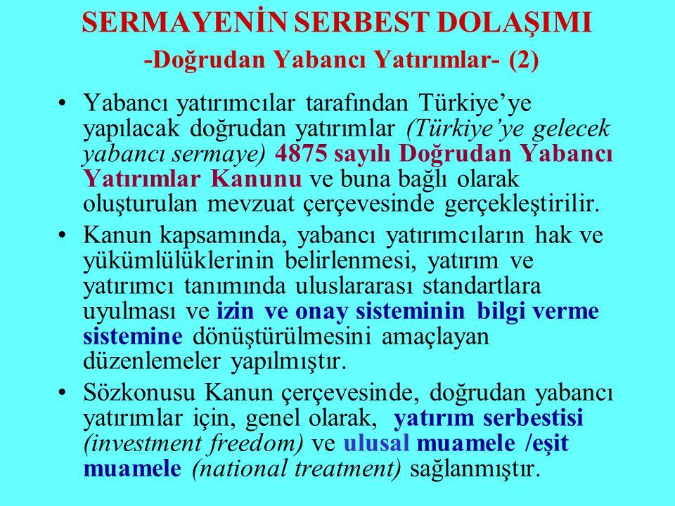 SERMAYENİN SERBEST DOLAŞIMI -Doğrudan Yabancı Yatırımlar- (2)