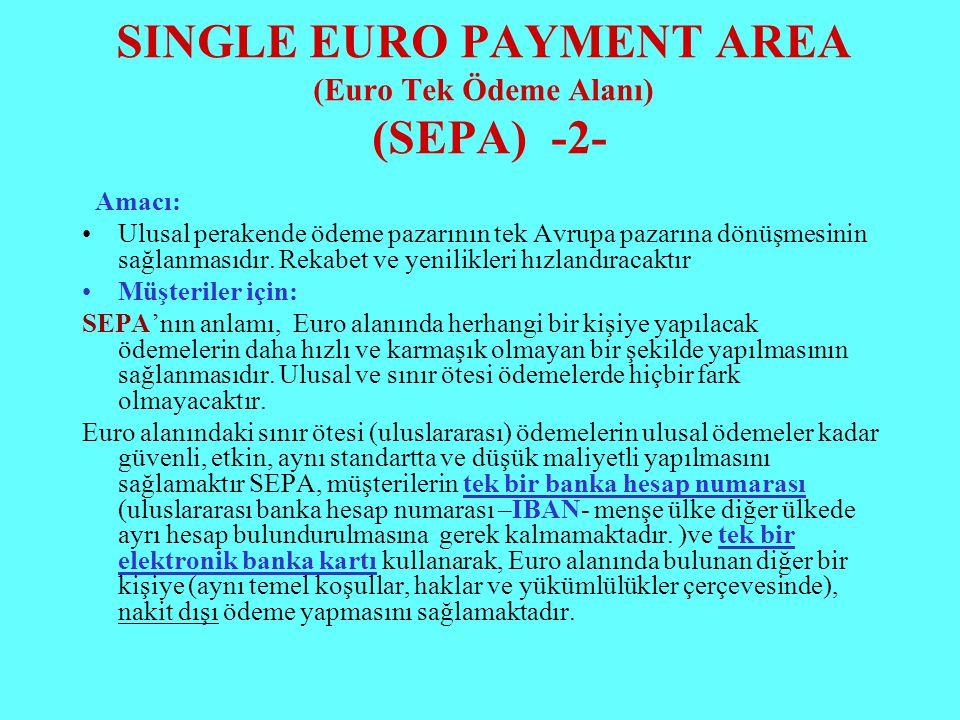 SINGLE EURO PAYMENT AREA (Euro Tek Ödeme Alanı) (SEPA) -2-