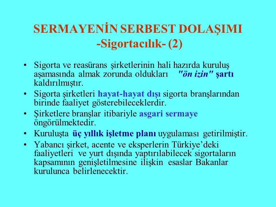 SERMAYENİN SERBEST DOLAŞIMI -Sigortacılık- (2)