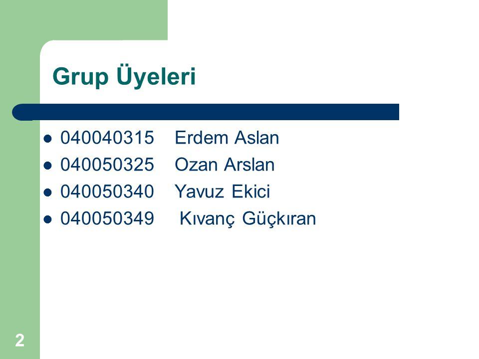 Grup Üyeleri 040040315 Erdem Aslan 040050325 Ozan Arslan