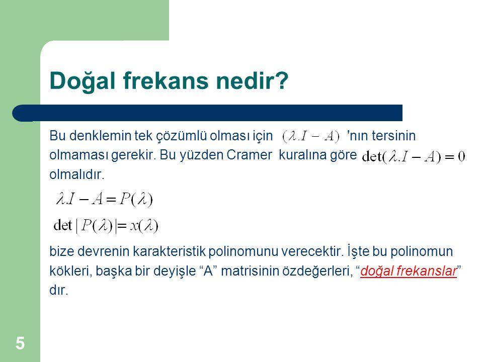 Doğal frekans nedir Bu denklemin tek çözümlü olması için nın tersinin. olmaması gerekir. Bu yüzden Cramer kuralına göre.