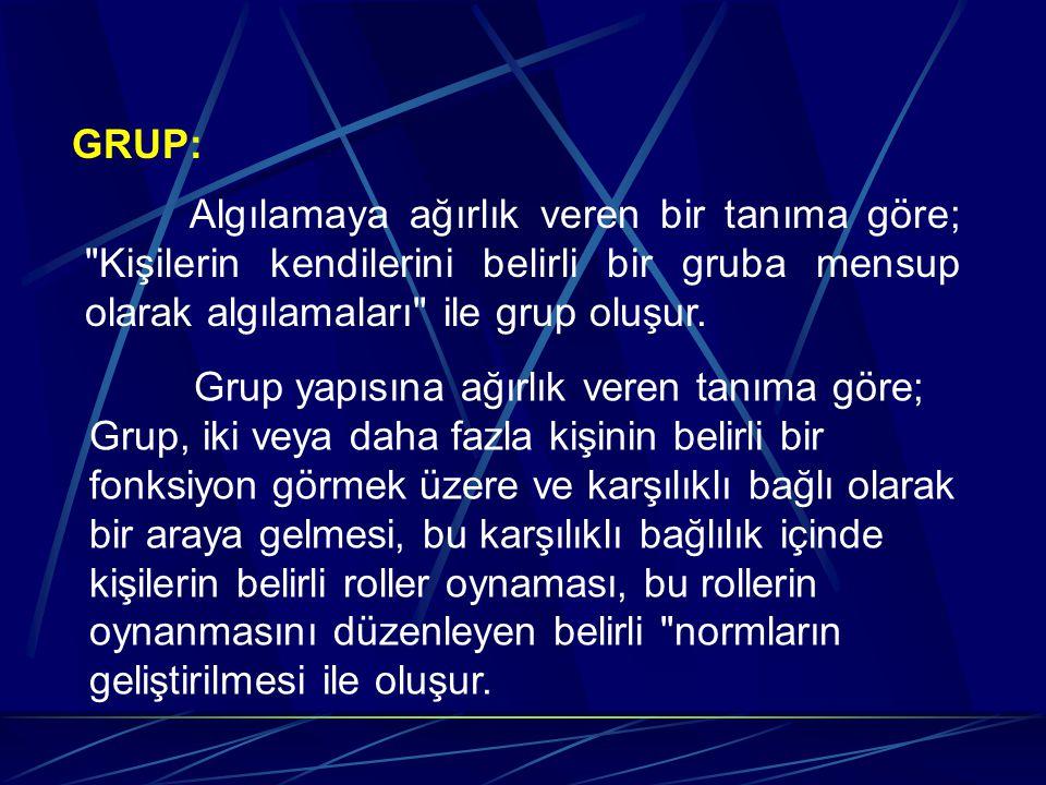 GRUP: Algılamaya ağırlık veren bir tanıma göre; Kişilerin kendilerini belirli bir gruba mensup olarak algılamaları ile grup oluşur.