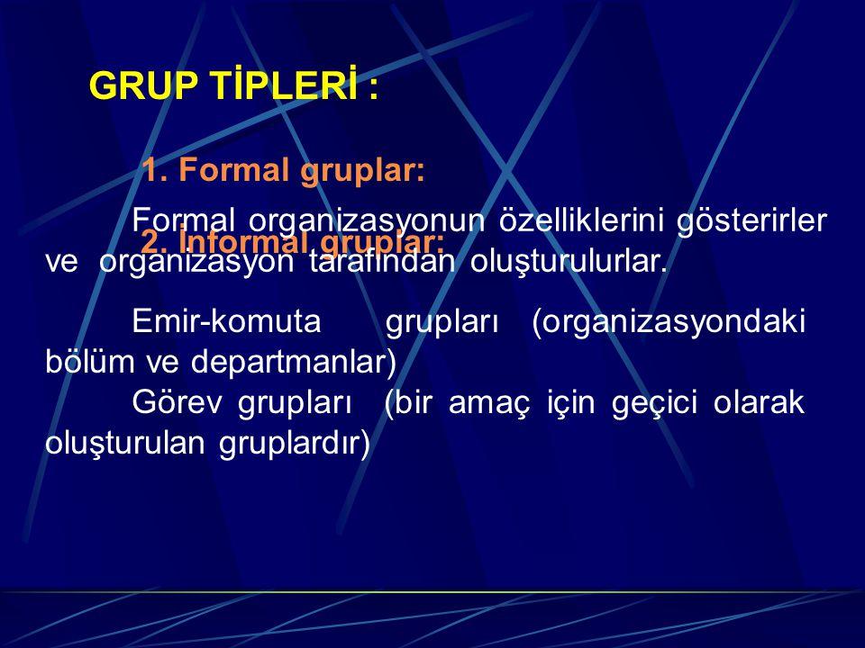 GRUP TİPLERİ : 1. Formal gruplar: