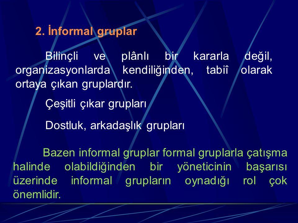 2. İnformal gruplar Bilinçli ve plânlı bir kararla değil, organizasyonlarda kendiliğinden, tabiî olarak ortaya çıkan gruplardır.
