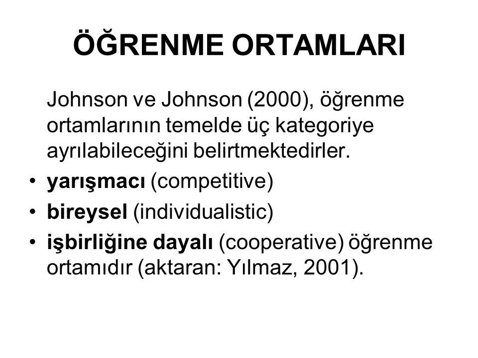 ÖĞRENME ORTAMLARI Johnson ve Johnson (2000), öğrenme ortamlarının temelde üç kategoriye ayrılabileceğini belirtmektedirler.