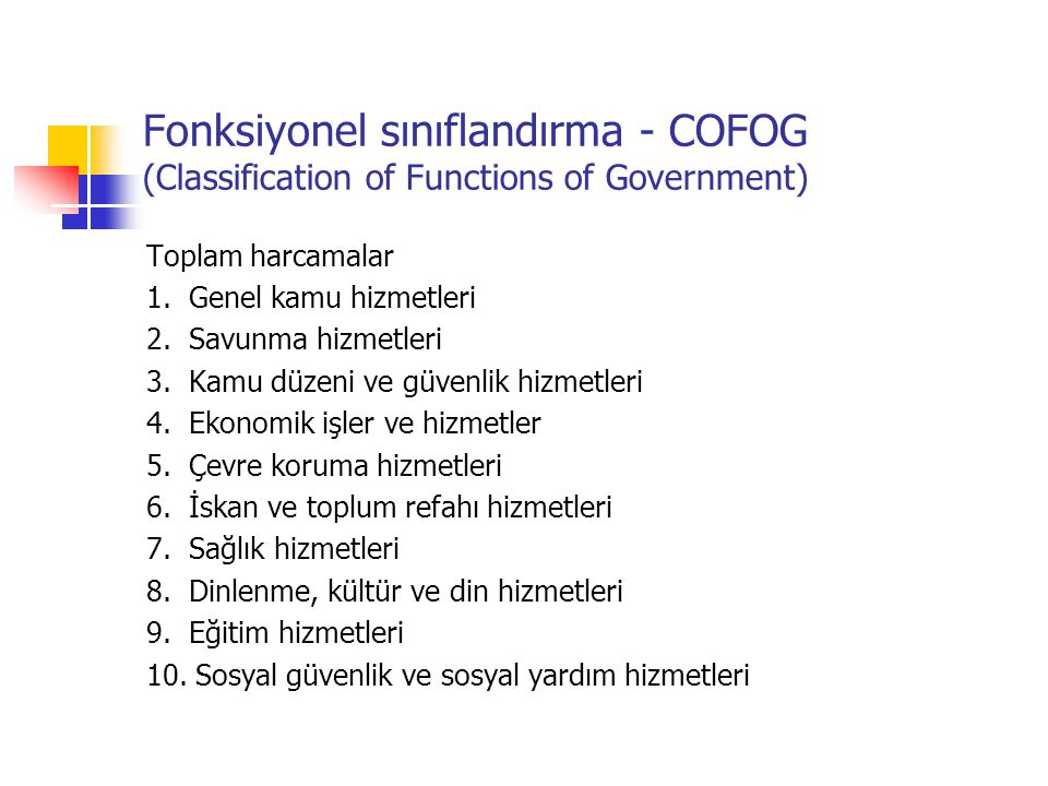 Fonksiyonel sınıflandırma - COFOG (Classification of Functions of Government)