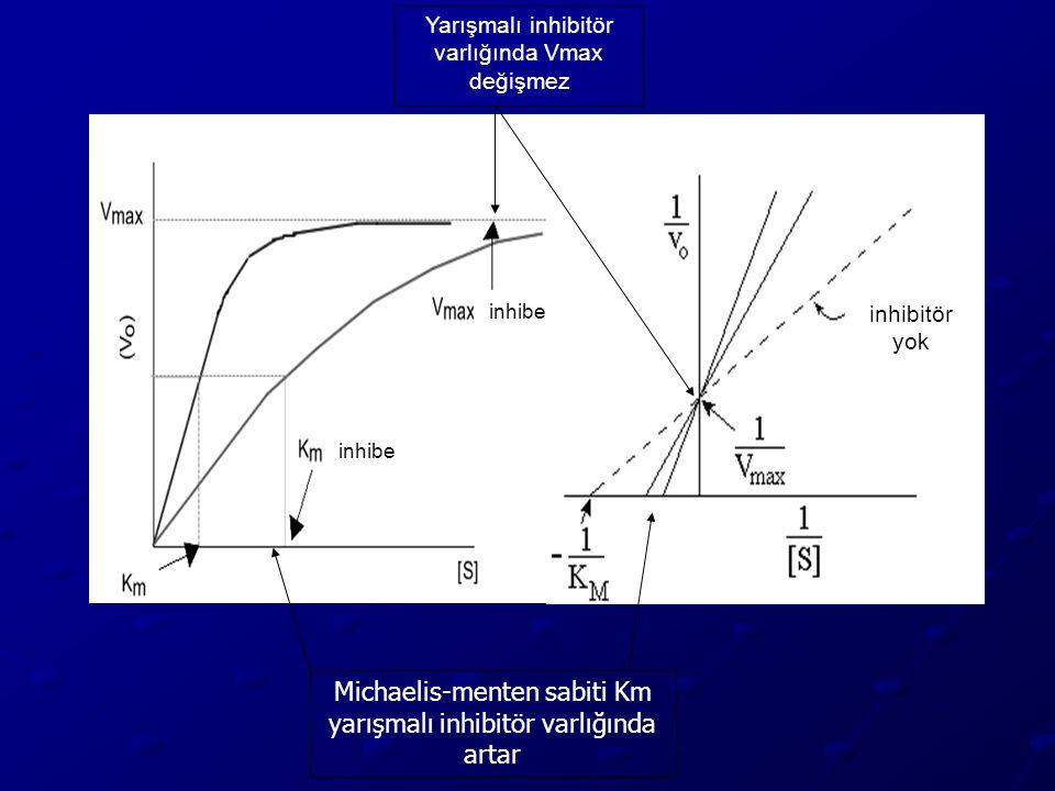 Michaelis-menten sabiti Km yarışmalı inhibitör varlığında artar