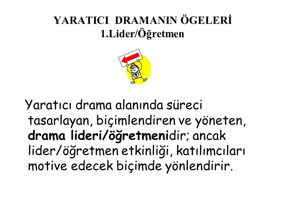 YARATICI DRAMANIN ÖGELERİ 1.Lider/Öğretmen