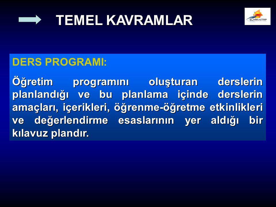 TEMEL KAVRAMLAR DERS PROGRAMI: