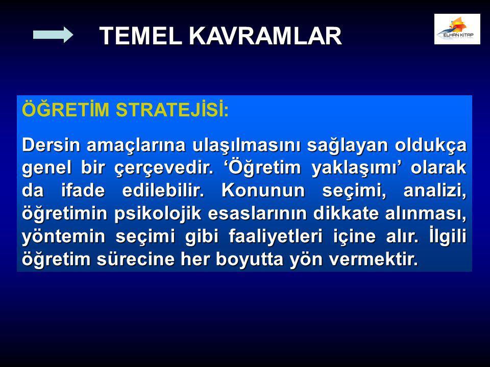 TEMEL KAVRAMLAR ÖĞRETİM STRATEJİSİ: