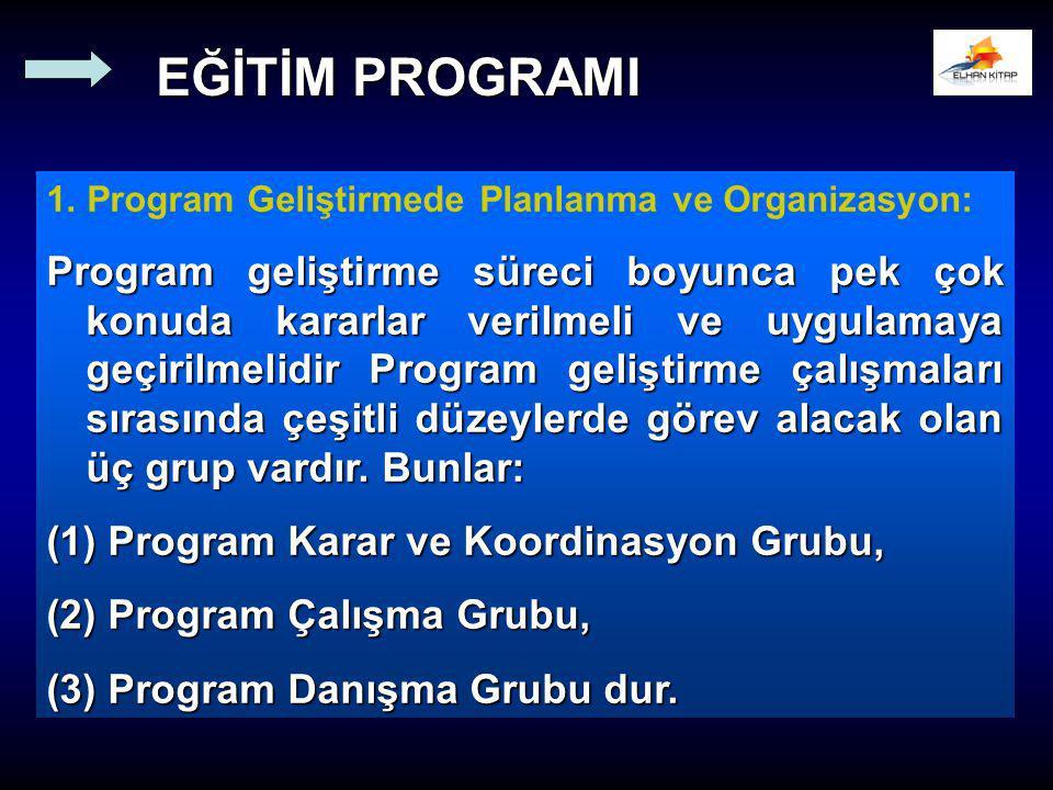 EĞİTİM PROGRAMI 1. Program Geliştirmede Planlanma ve Organizasyon: