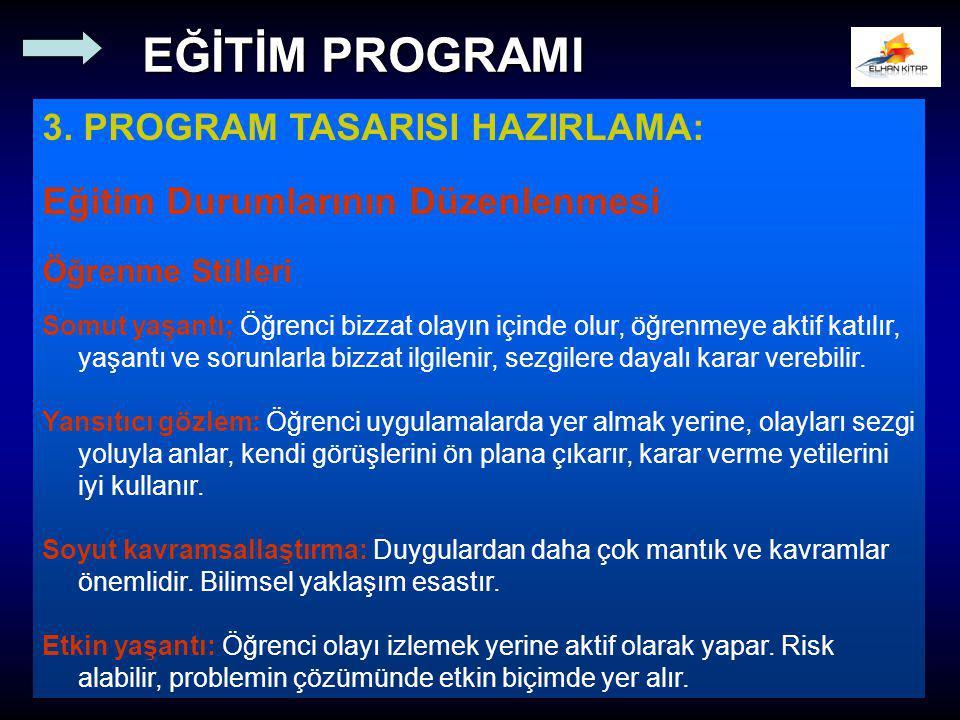 EĞİTİM PROGRAMI 3. PROGRAM TASARISI HAZIRLAMA: