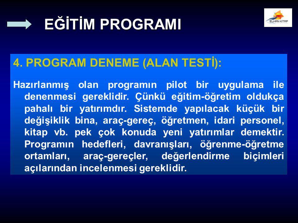 EĞİTİM PROGRAMI 4. PROGRAM DENEME (ALAN TESTİ):
