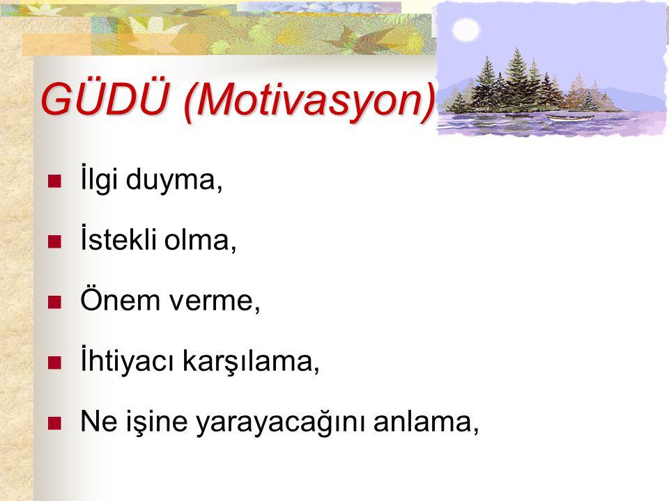 GÜDÜ (Motivasyon) İlgi duyma, İstekli olma, Önem verme,