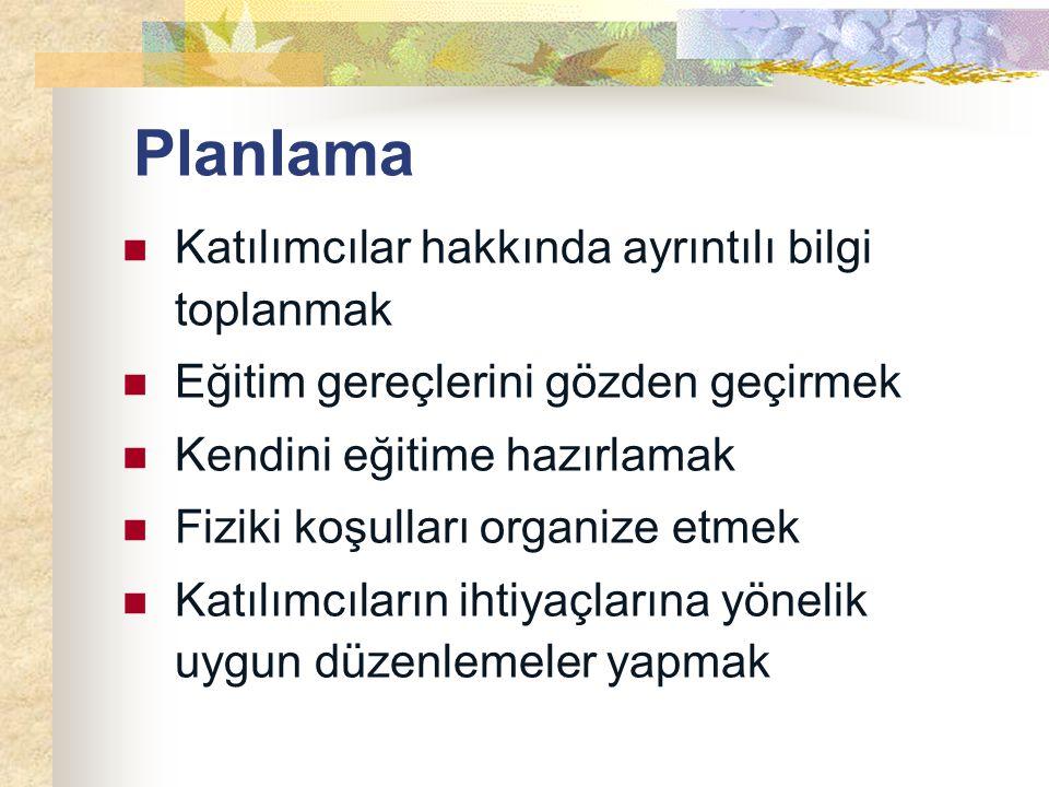 Planlama Katılımcılar hakkında ayrıntılı bilgi toplanmak