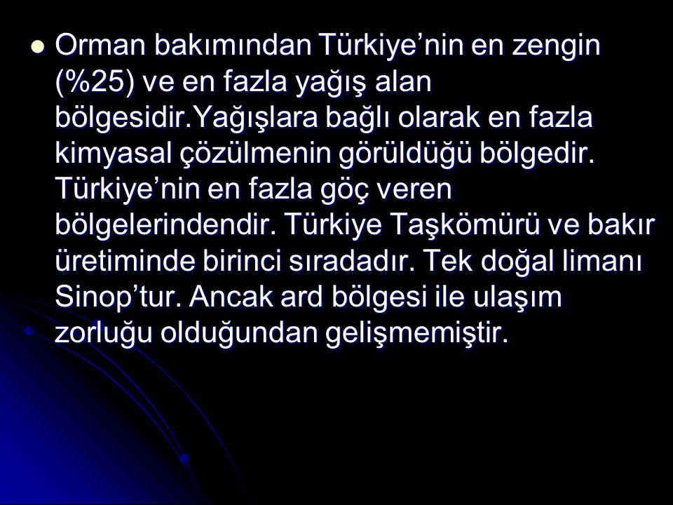 Orman bakımından Türkiye'nin en zengin (%25) ve en fazla yağış alan bölgesidir.Yağışlara bağlı olarak en fazla kimyasal çözülmenin görüldüğü bölgedir.