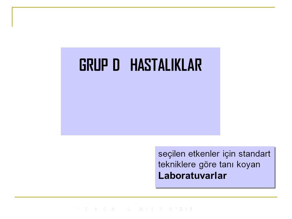 GRUP D HASTALIKLAR seçilen etkenler için standart tekniklere göre tanı koyan Laboratuvarlar