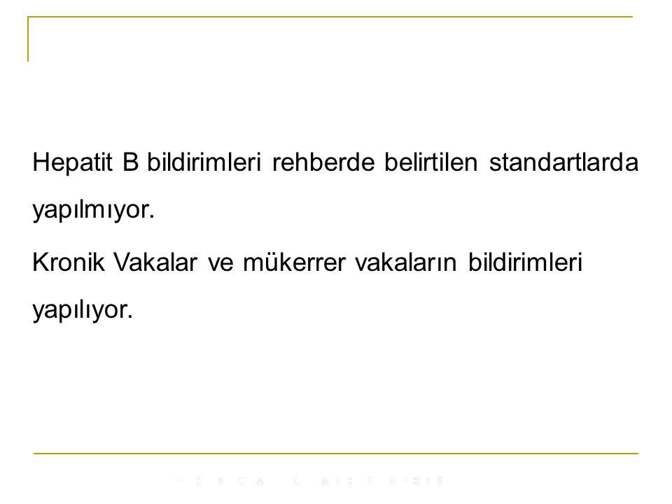 Hepatit B bildirimleri rehberde belirtilen standartlarda yapılmıyor.