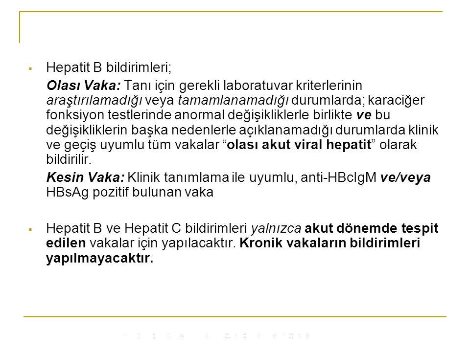 Hepatit B bildirimleri;