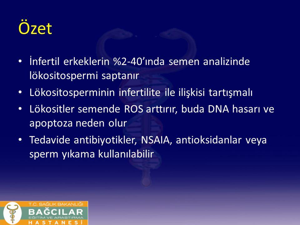 Özet İnfertil erkeklerin %2-40'ında semen analizinde lökositospermi saptanır. Lökositosperminin infertilite ile ilişkisi tartışmalı.