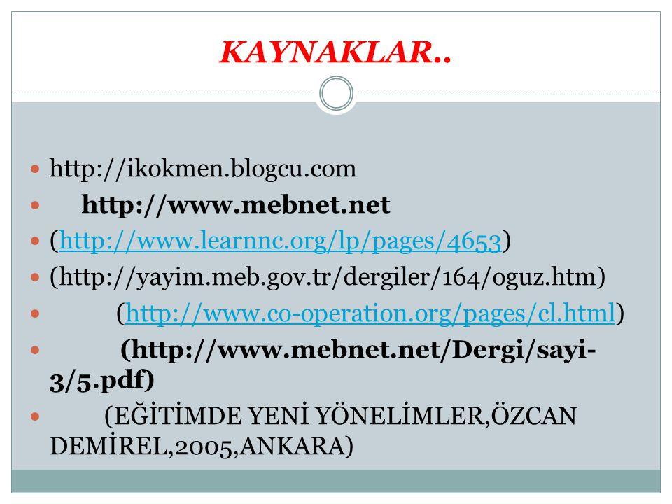 KAYNAKLAR.. http://ikokmen.blogcu.com http://www.mebnet.net