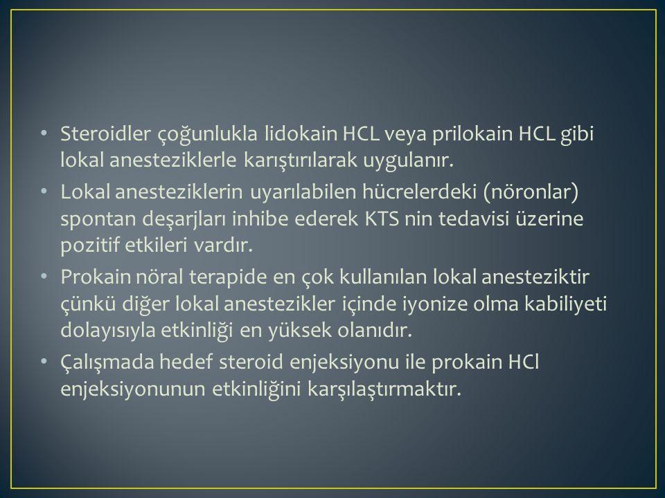 Steroidler çoğunlukla lidokain HCL veya prilokain HCL gibi lokal anesteziklerle karıştırılarak uygulanır.