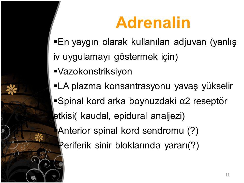 Adrenalin En yaygın olarak kullanılan adjuvan (yanlış iv uygulamayı göstermek için) Vazokonstriksiyon.