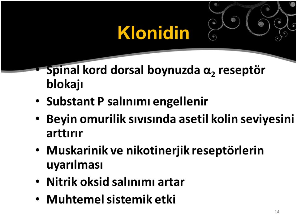Klonidin Spinal kord dorsal boynuzda α2 reseptör blokajı