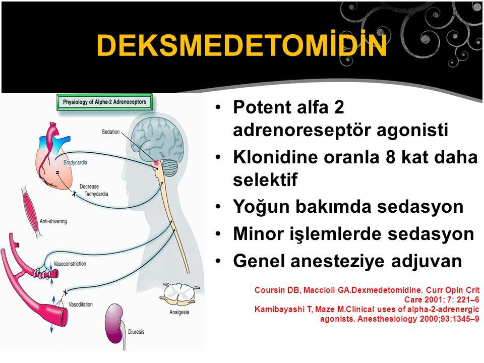 DEKSMEDETOMİDİN Potent alfa 2 adrenoreseptör agonisti
