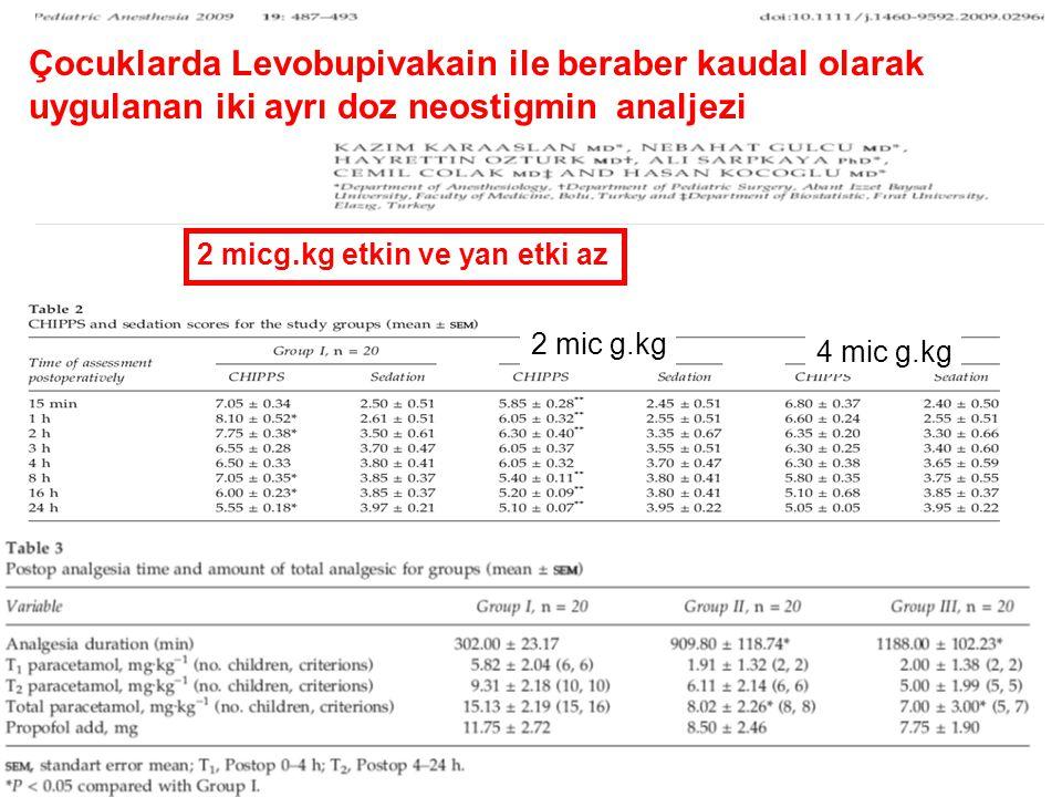 Çocuklarda Levobupivakain ile beraber kaudal olarak uygulanan iki ayrı doz neostigmin analjezi
