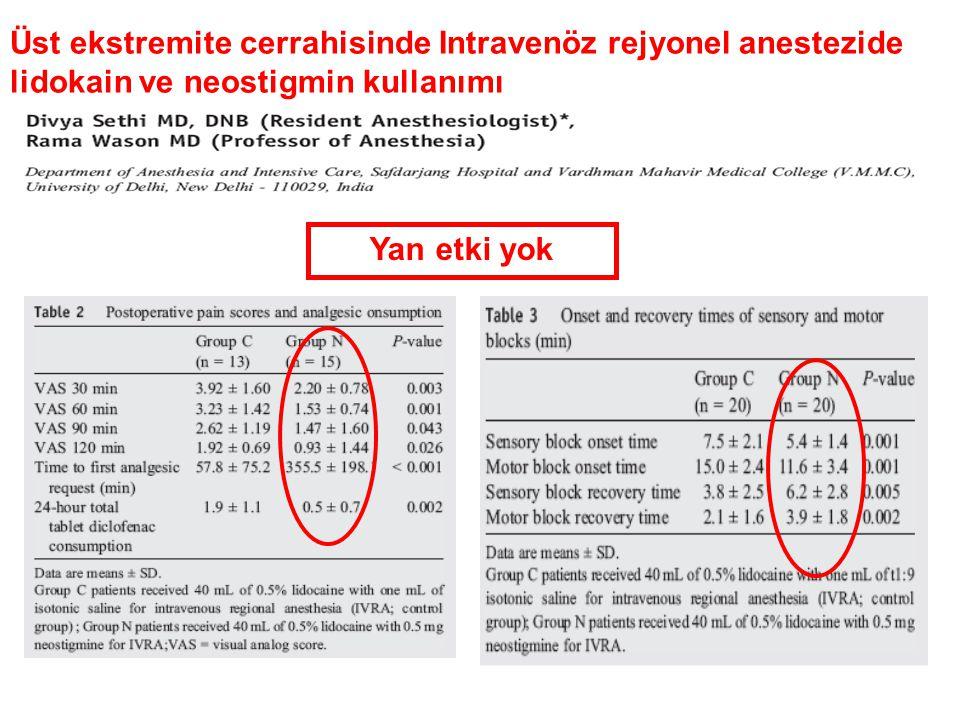 Üst ekstremite cerrahisinde Intravenöz rejyonel anestezide lidokain ve neostigmin kullanımı