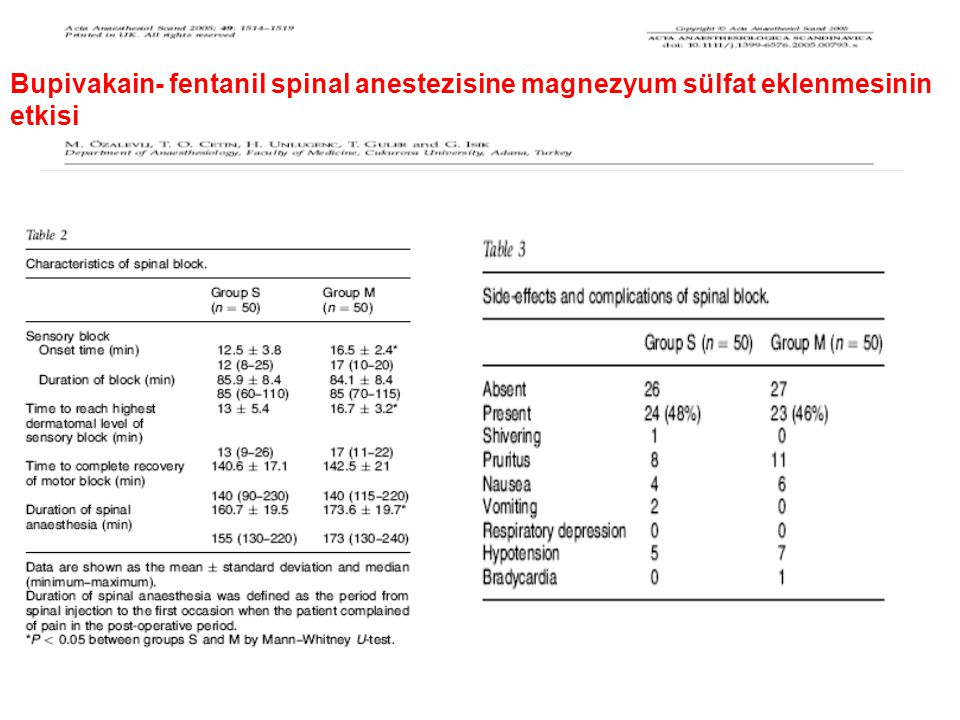 Bupivakain- fentanil spinal anestezisine magnezyum sülfat eklenmesinin etkisi